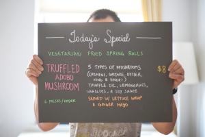 try today's special-- truffled adobo mushroom lumpia!
